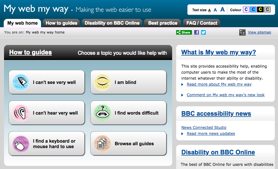Accessibility guide provided on the BBC website.