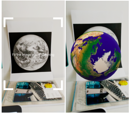 ARCore enables seeing 3D model of the Earth on a smartphone screen