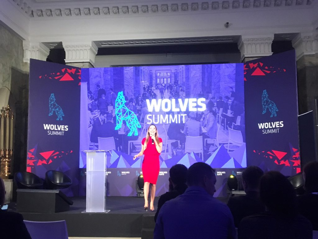 The founder of Wolves Summit, Barbara Piasek, on stage