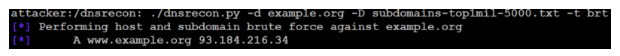 You can obtain subdomain names through dnsrecon brute force to prepare for a penetration test